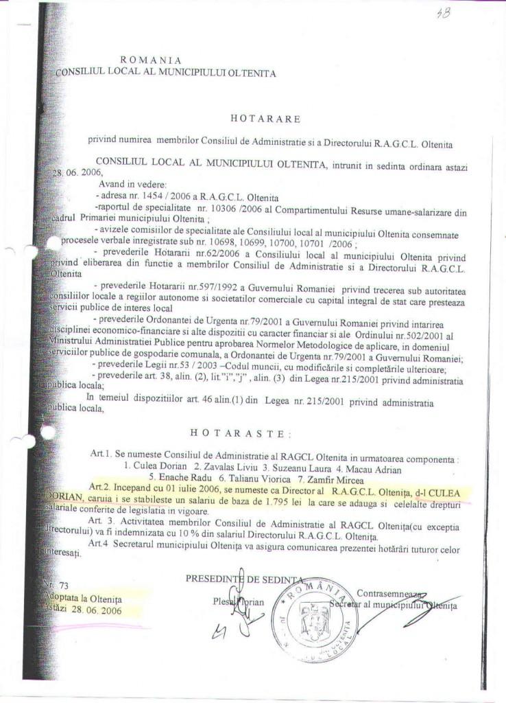 Hotararea prin care se arata ca Dorian Culea a fost numit director la RAGCL in 2006, actul aditional de prelungire a contractul